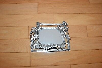 picture frame horse themed Solid Pewter brushed nickel finish 9x6 1/2 NWOT