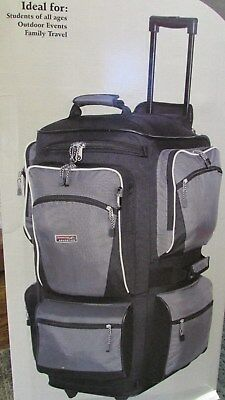 "NEW  TLC Adventure Club 29"" 6 Pocket Rolling Duffel Bag Luggage Grey & Black"