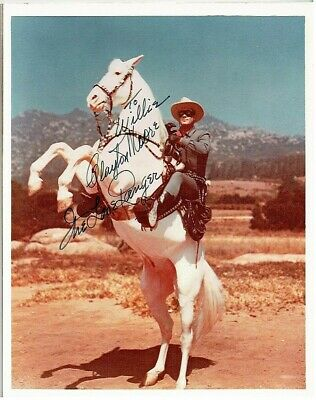 """Autograph Clayton Moore, The Lone Ranger color 8""""x10"""" with Silver"""