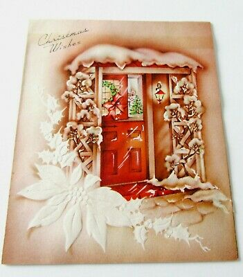 Used Vtg Christmas Card Dutch Front Door Open to Tree by Fireplace