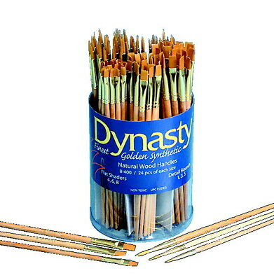 Dynasty Cylinder Golden Taklon Short Handle Paint Brush Set, Assorted Size, Set