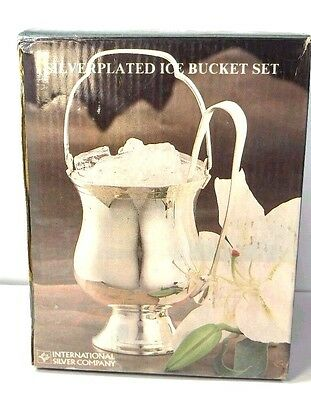 Vintage International Silver Co. Silver Plated Ice Bucket Set Tongs INDIA in box