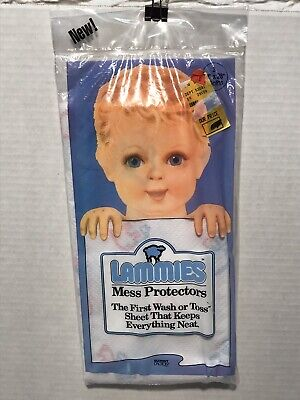 """NOS 3 Count Package of Lammies Child Food Mess 21""""x28"""" Drop Cloth Wash Or Throw"""