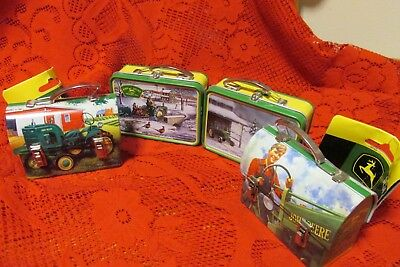 Lot of 4 John Deere Tin Lunch Boxes, Christmas Tree Ornament Mini carry all