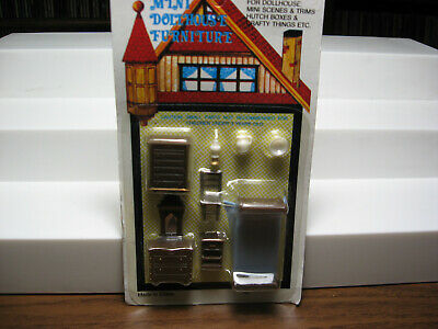 1 set with tiny miniature plastic dollhouse bedroom furniture