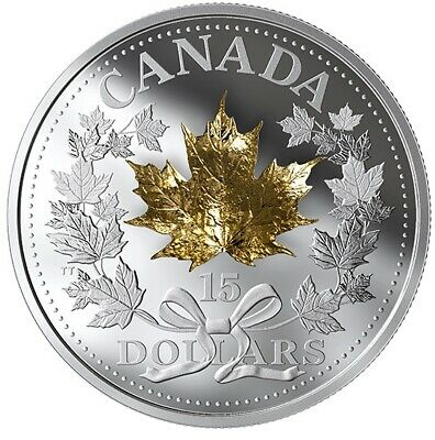 2019 Canada $15 .999 3/4 Oz 3D Golden Maple Leaf Proof Finish Silver Coin