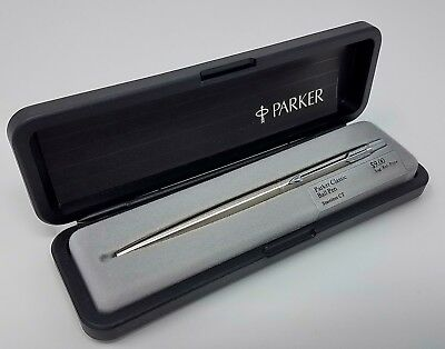 NOS 1985 Vintage Parker Classic Ballpoint Pen, Stainless/Chrome Trim, USA Brass