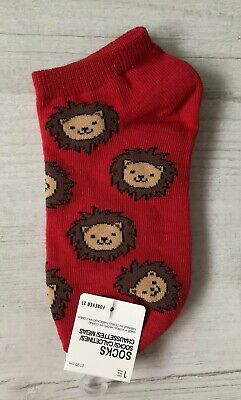Ladies/Girls Bright Red With Lions On Cotton Trainer Socks