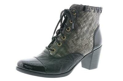 RIEKER PATENT LACE Up Zip Leather Ankle Boots Y8938 00 Heel