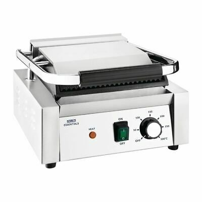 Nisbets Essentials Contact Grill Ribbed Top Stainless Steel - Built In Tray