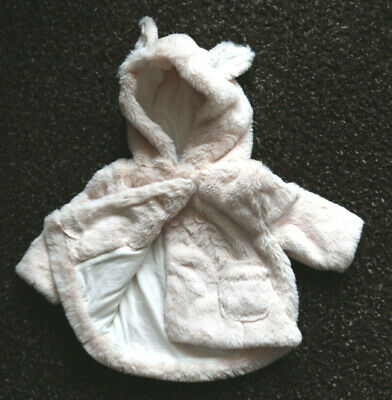 Next Baby Girls Pink Fluffy Hooded Coat Age 18-24 Months BNWT