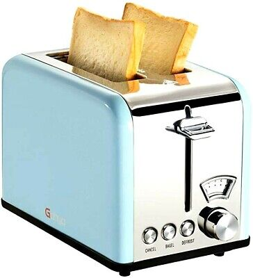 Vintage 2 Slice Toaster 100% Stainless Steel Wide Slots Removable Crumb Tray