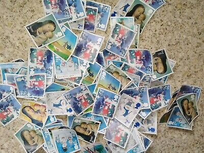 50 x UNFRANKED CHRISTMAS 2nd CLASS STAMPS OFF PAPER NO GUM