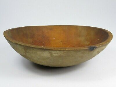 Antique Hand Turned Wood Bowl Out of Round Farm House Bread Centerpiece