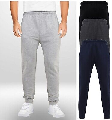 Mens Boys Adults Jogging Bottoms Joggers Lined Plain Zip Pockets Drawstring Size