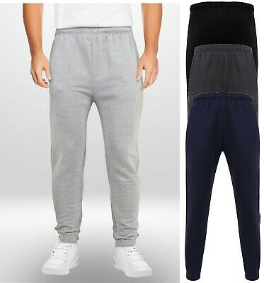 Mens Jogging Bottoms Fleece Lined Plain Zip Pockets Drawstring Waist M to XXL