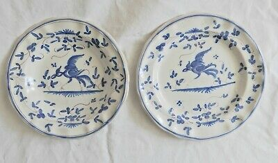 2 Teller, 2 plates, Moustiers, handbemalt / handpainted, blue birds, France