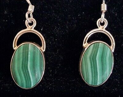 Sterling silver & green malachite vintage Art Deco antique pair of earrings