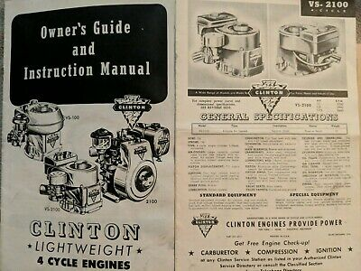 1954-1955 Clinton 4 Cycle Engines Owner's Guide & Instruction Manual Illustrated