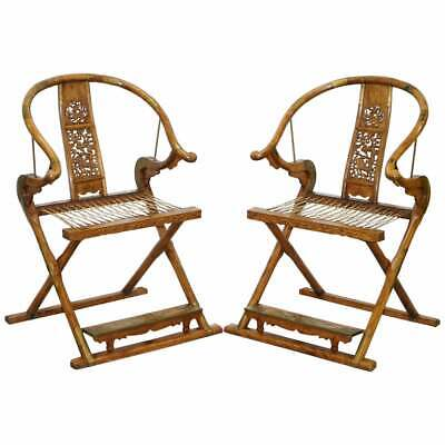 Pair Of Vintage Chinese Solid Hardwood Horseshoe Folding Chairs Brass Fittings