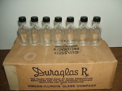 Lot of 7 Antique Duraglass Rx MEDICINE Bottle Owens Illinois Glass Company .5 oz