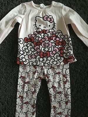 Pink & White Hello Kitty Leggings & T-shirt Outfit From H&M Size 3-6 Months