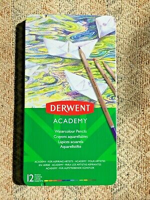 Derwent Academy Watercolour Colouring Pencils, Set of 12, High Quality, 2301941.