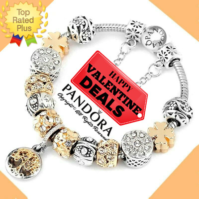 "Authentic Pandora Bracelet Silver Gold ""TREE OF LIFE"" with European Charms New"