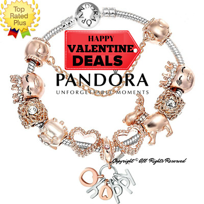Authentic PANDORA CHARM Bracelet Silver with Rose Gold Love European Charms New