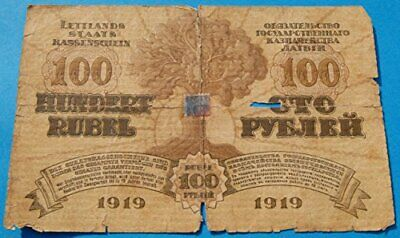1919 Latvia 100 Rubli Banknote, Independence Currency, First Year of Issue