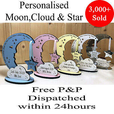 Personalised Newborn Baby Boy Girl Gift Present Christening Keepsake Moon Star