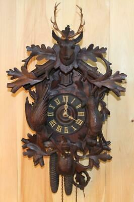 Large Antique German Black Forest Hunter Cuckoo Clock ~ Circa Early 1900's ~
