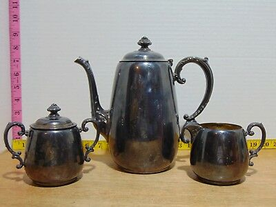 Wm Rogers Silverplate Teapot Creamer Lidded Sugar Bowl