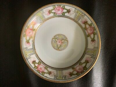 Hand Painted Nippon Pink Floral Gold Beaded 5 inch Plate