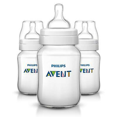 3 x Philips Avent Classic+ Feeding Bottle 260ml (1m Anti Colic Slow Flow Teat