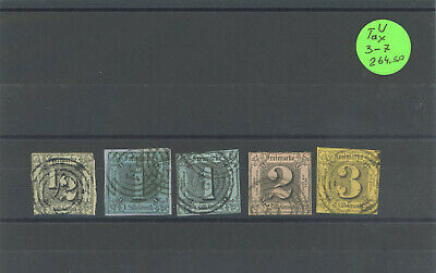 Germany States Thurn And Taxis Stamps Used Sc#-3-7 Cv-$264.50 Lot-87