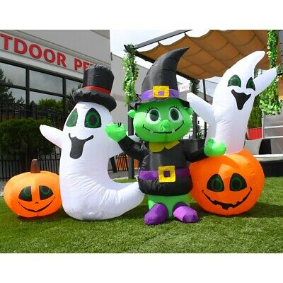 ALEKO Outdoor Yard Decoration Halloween Inflatable 3 Ghosts and 2 Pumpkins 4 ft