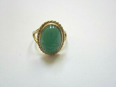 14K Gold  Ring  With Chrysoprase Scarab Gemstone