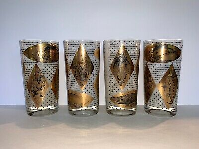 Florida MCM Frosted White/ Gold Leaf Tumblers 1960's - Set of 4