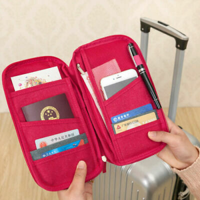 Large Family Travel Wallet Organiser RFID Card Holder document money passport AU