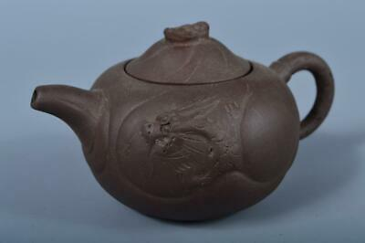 101>J9237: Chinese Brown pottery Dragon sculpture TEAPOT Kyusu Sencha