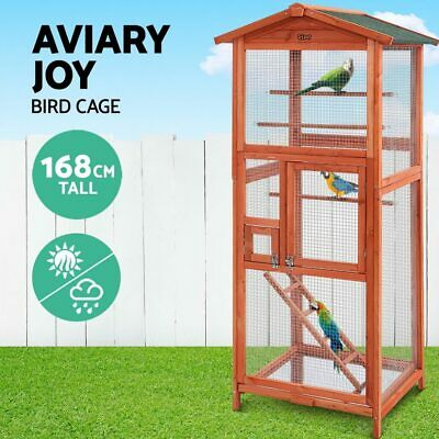 iPet X Large Tall Bird Cage Wooden Aviary Canary Cockatoo Parrot Display Cages