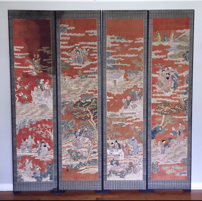 """Set Of 4 Extra Large Antique Chinese Kesi Silk Panels/Floor Screen,90"""" X 22""""Each"""