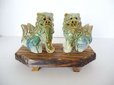 "Pair Asian China Foo Dogs Lions Ceramic Glaze Green Tan Blue 4"" Tall on Board"