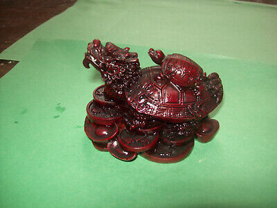Vintage Chinese Feng Shui Lucky  Turtle Tortoise Statue Figurine -D.red Color