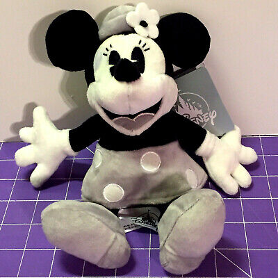 """NEW Disney Parks Minnie Mouse Plush 7"""" Steamboat Gray White Monochrome Cute NWT"""