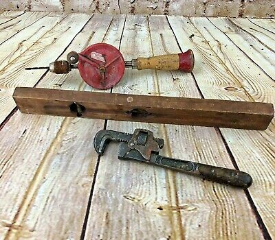 Lot of vintage tools Wrench Nylon Drill wood level Garage decor man cave antique