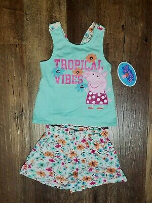 NEW!!! Girls Peppa Pig 'Tropical Vines 2pc. shorts outfit Sz.5T