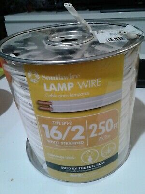 New Southwire 16/2 SPT-2  300 volts Lamp Cord Wire 250 ft. White Stranded 16 AWG