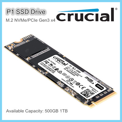 Crucial P1 M.2 SSD 3D NAND NVMe PCIe Gen3 x4 500GB 1TB for Supported PC Laptop